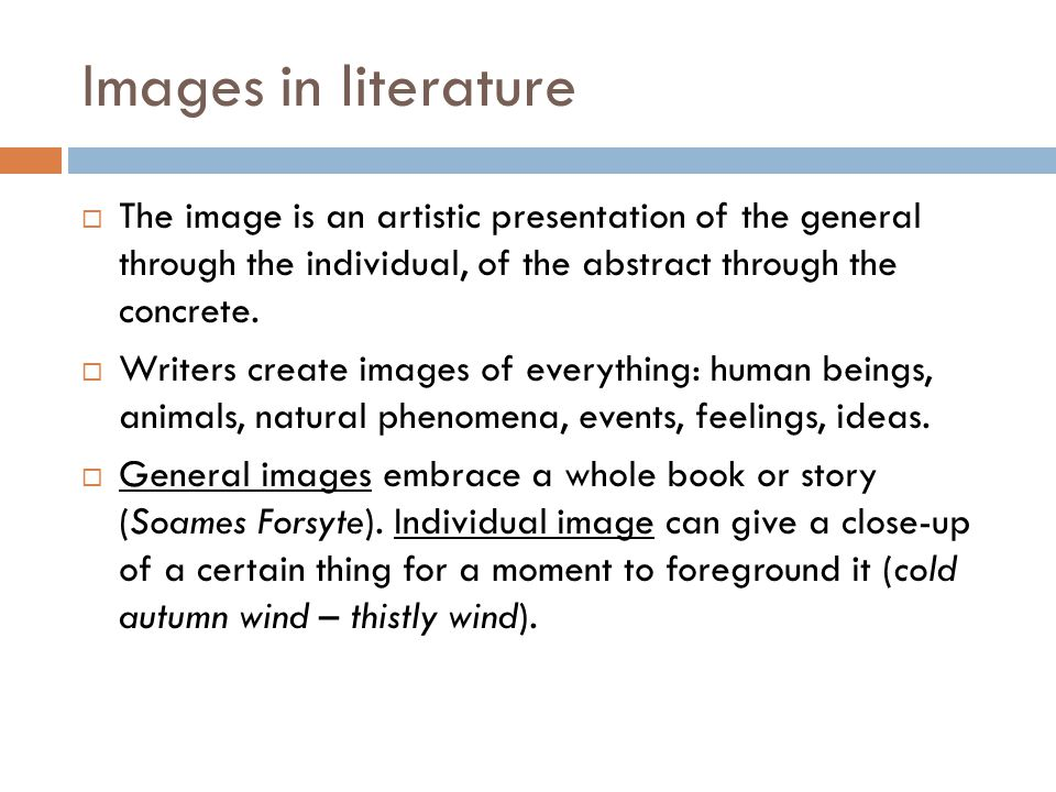 Images in literature  The image is an artistic presentation of the general through the individual, of the abstract through the concrete.