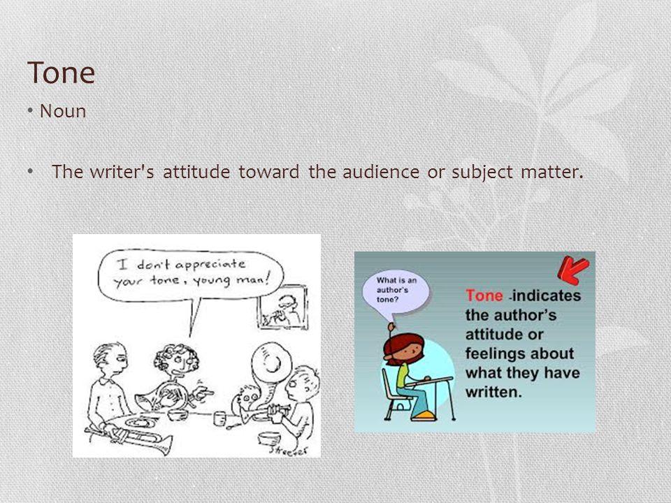 Tone Noun The writer s attitude toward the audience or subject matter.