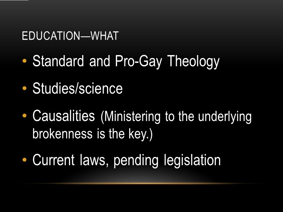 EDUCATION—WHAT Standard and Pro-Gay Theology Studies/science Causalities (Ministering to the underlying brokenness is the key.) Current laws, pending legislation