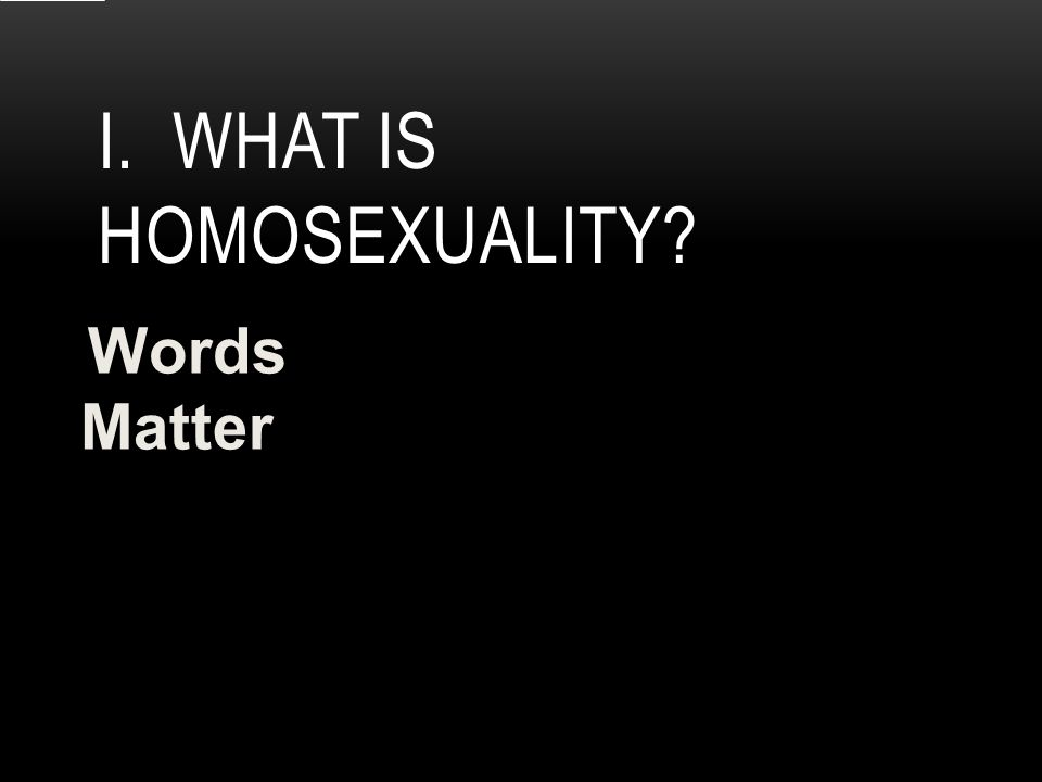 I. WHAT IS HOMOSEXUALITY Words Matter