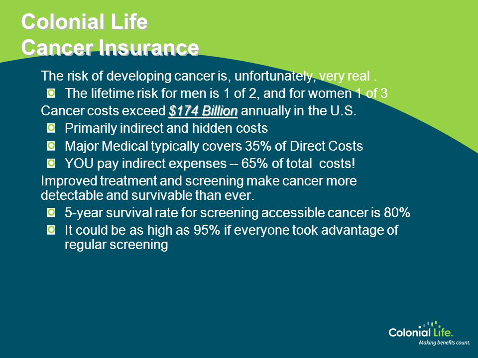 Colonial Life Cancer Insurance  The risk of developing cancer is, unfortunately, very real.