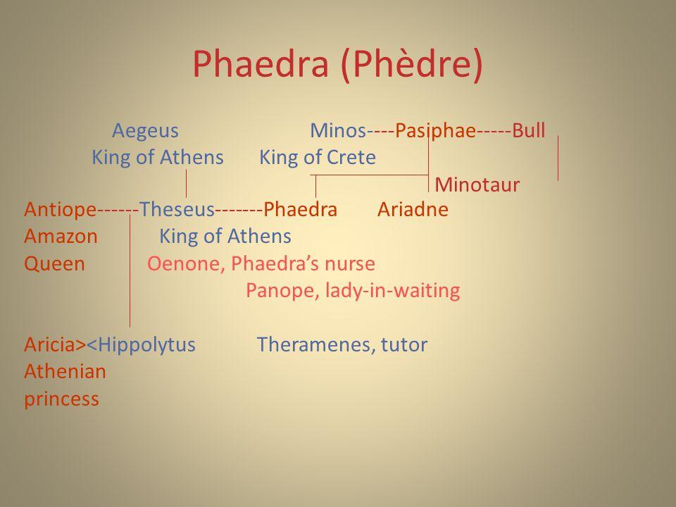 Phaedra (Phèdre) Antiope------Theseus-------Phaedra Ariadne AmazonKing of Athens Queen Oenone, Phaedra's nurse Panope, lady-in-waiting Aricia><Hippolytus Theramenes, tutor Athenian princess Aegeus Minos----Pasiphae-----Bull King of Athens King of Crete Minotaur