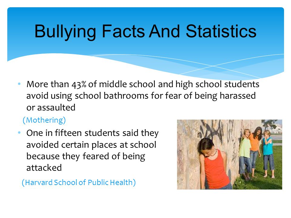 Bullying Facts And Statistics More than 43% of middle school and high school students avoid using school bathrooms for fear of being harassed or assaulted (Mothering) One in fifteen students said they avoided certain places at school because they feared of being attacked (Harvard School of Public Health)
