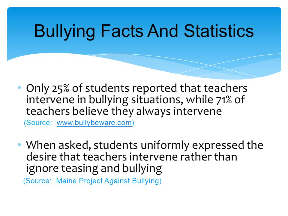 Only 25% of students reported that teachers intervene in bullying situations, while 71% of teachers believe they always intervene (Source: www.bullybeware.com)www.bullybeware.com When asked, students uniformly expressed the desire that teachers intervene rather than ignore teasing and bullying (Source: Maine Project Against Bullying) Bullying Facts And Statistics