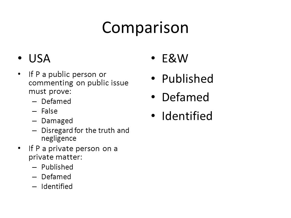 Comparison USA If P a public person or commenting on public issue must prove: – Defamed – False – Damaged – Disregard for the truth and negligence If P a private person on a private matter: – Published – Defamed – Identified E&W Published Defamed Identified