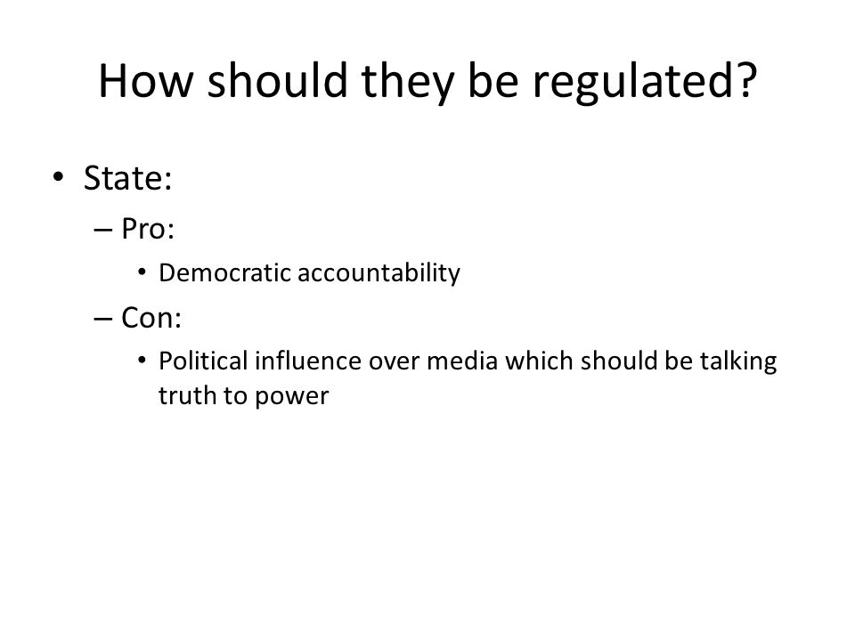 OfCom: radio, TV, mobiles, landlines, post Regulating the organisation of the media: – What spectrum, who gets it, what they pay, what licence agreements Regulating the content of the media: radio and TV through the Broadcasting Code Independent of political interference £121.4 million budget: payments by media owners and G'ment for research, managing spectrum sales etc