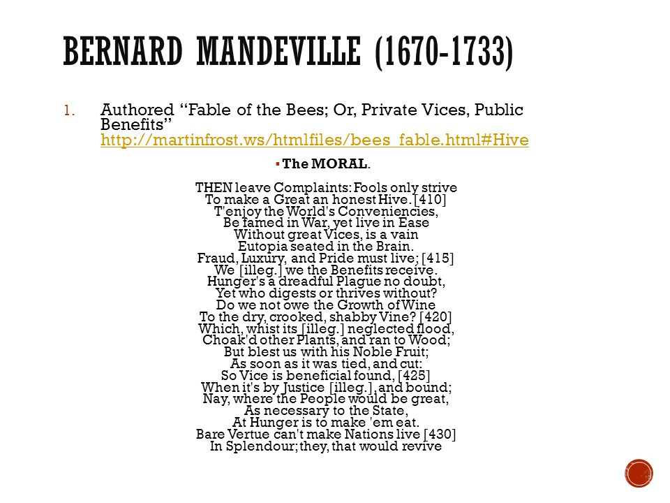 """BERNARD MANDEVILLE (1670-1733) 1. Authored """"Fable of the Bees; Or, Private Vices, Public Benefits"""" http://martinfrost.ws/htmlfiles/bees_fable.html#Hiv"""