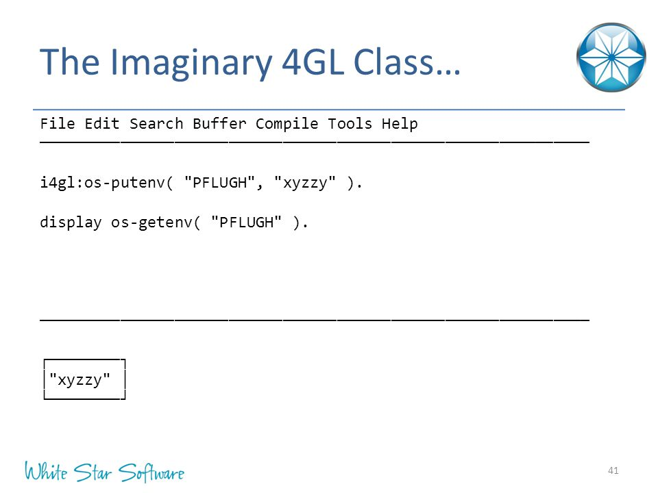The Imaginary 4GL Class… 41 File Edit Search Buffer Compile Tools Help ───────────────────────────────────────────────────────────── i4gl:os-putenv(