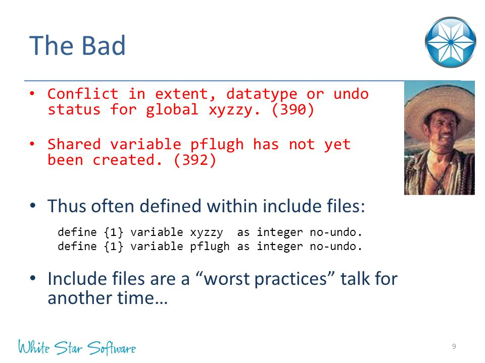 The Bad Conflict in extent, datatype or undo status for global xyzzy.