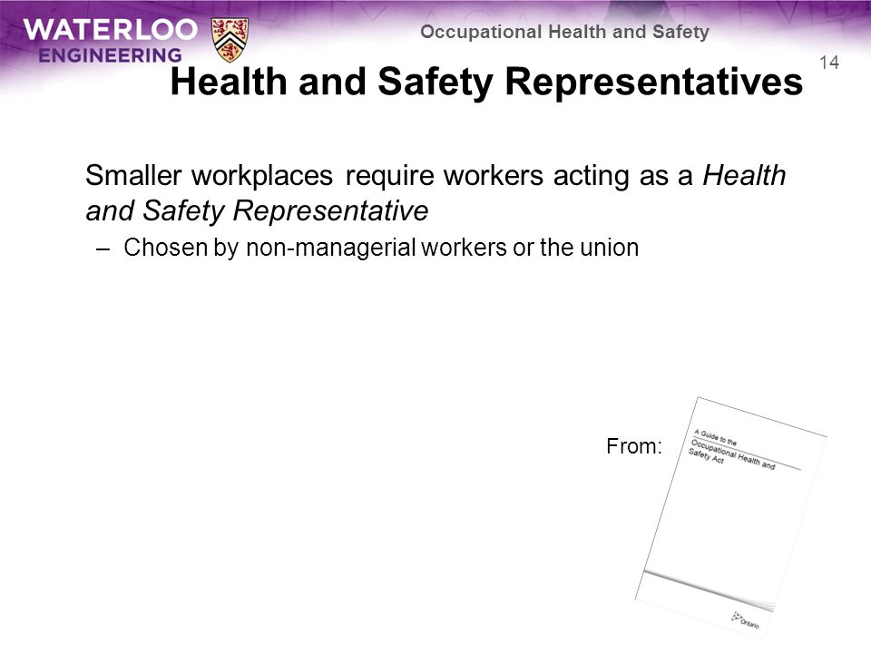 Health and Safety Representatives Smaller workplaces require workers acting as a Health and Safety Representative –Chosen by non-managerial workers or the union Occupational Health and Safety 14 From: