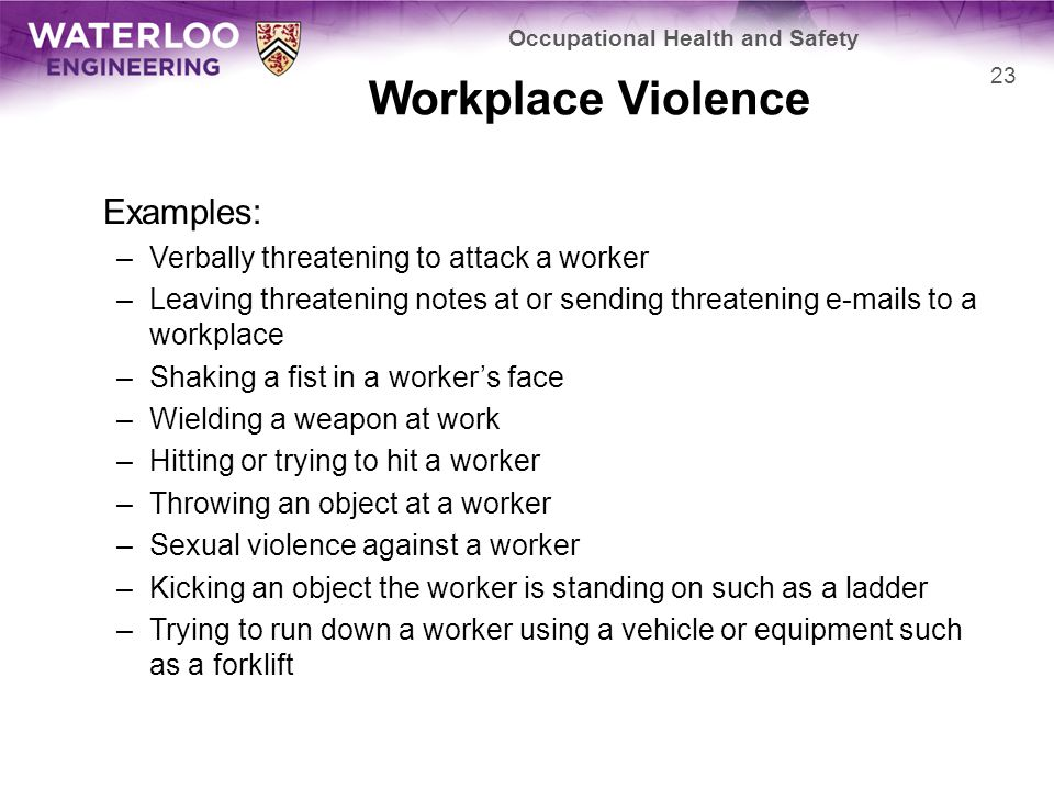 Workplace Violence Examples: –Verbally threatening to attack a worker –Leaving threatening notes at or sending threatening e-mails to a workplace –Shaking a fist in a worker's face –Wielding a weapon at work –Hitting or trying to hit a worker –Throwing an object at a worker –Sexual violence against a worker –Kicking an object the worker is standing on such as a ladder –Trying to run down a worker using a vehicle or equipment such as a forklift Occupational Health and Safety 23