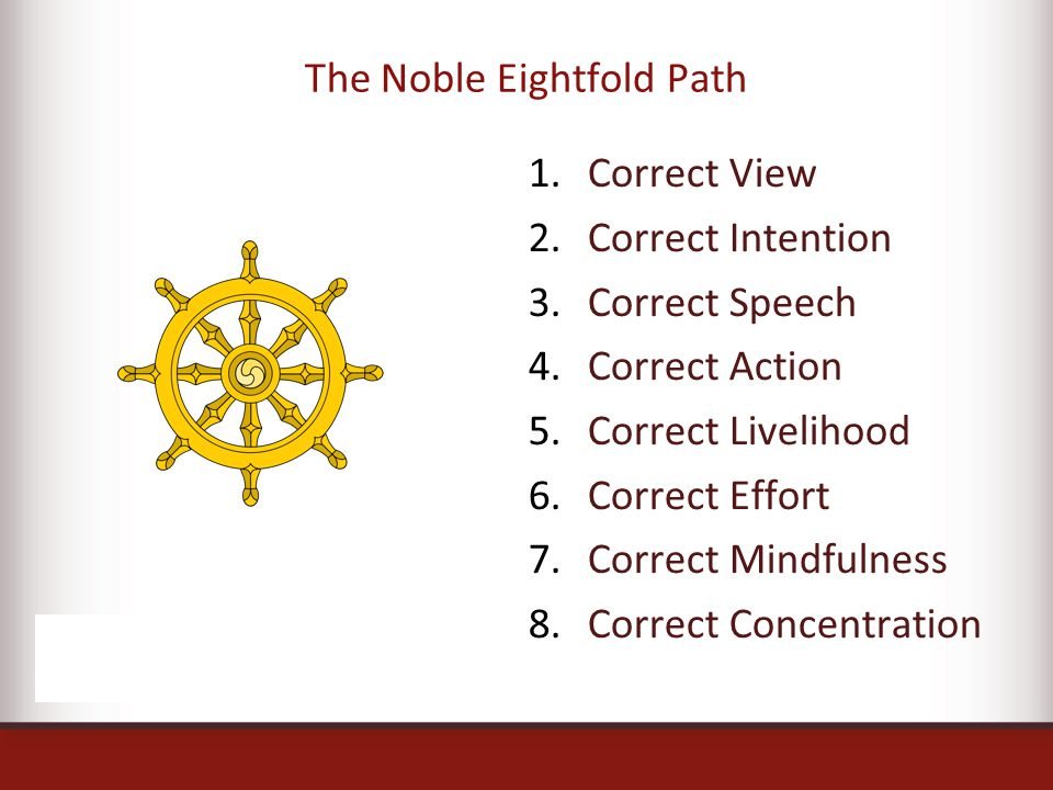 1.Correct View 2.Correct Intention 3.Correct Speech 4.Correct Action 5.Correct Livelihood 6.Correct Effort 7.Correct Mindfulness 8.Correct Concentration The Noble Eightfold Path