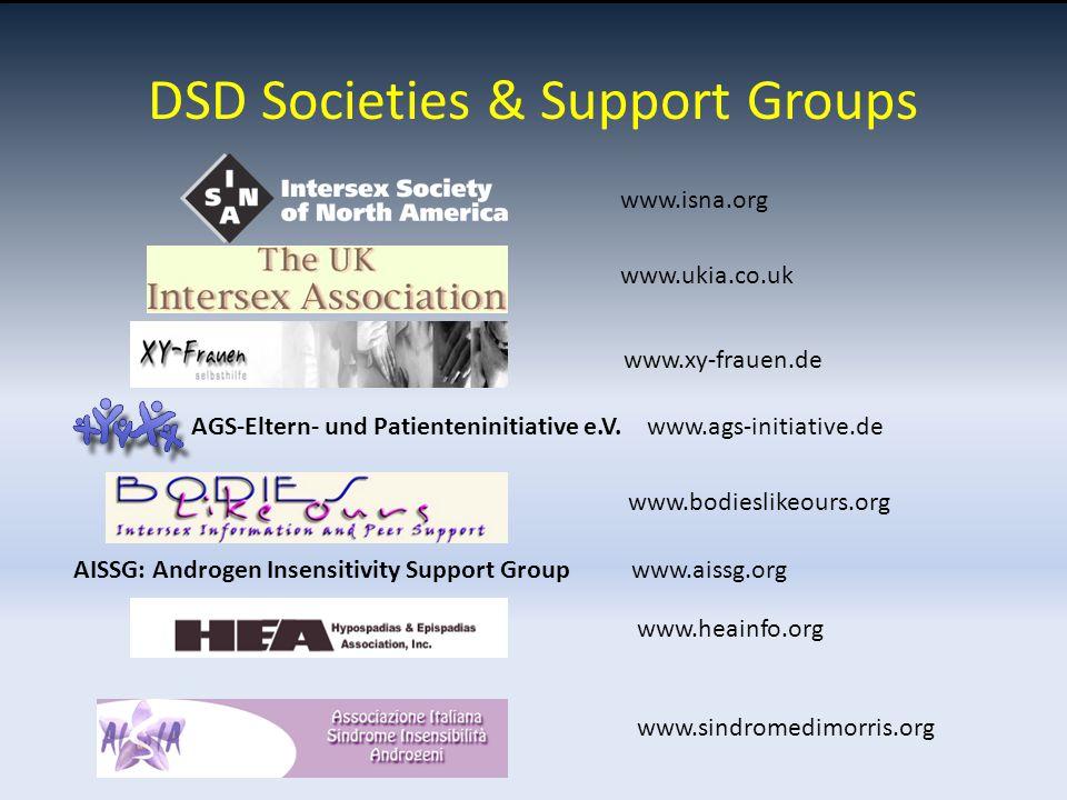 www.isna.org www.ukia.co.uk www.xy-frauen.de AGS-Eltern- und Patienteninitiative e.V. www.ags-initiative.de www.bodieslikeours.org AISSG: Androgen Ins