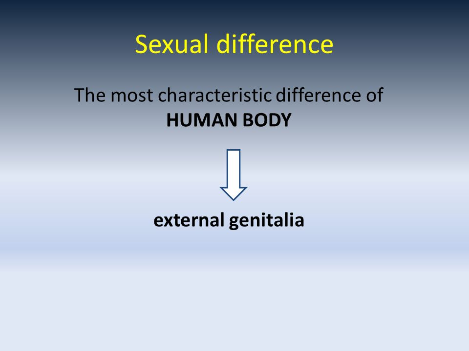 The most characteristic difference of HUMAN BODY external genitalia Sexual difference