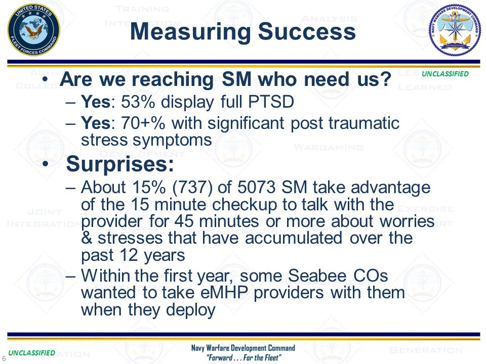 UNCLASSIFIED Measuring Success Are we reaching SM who need us.