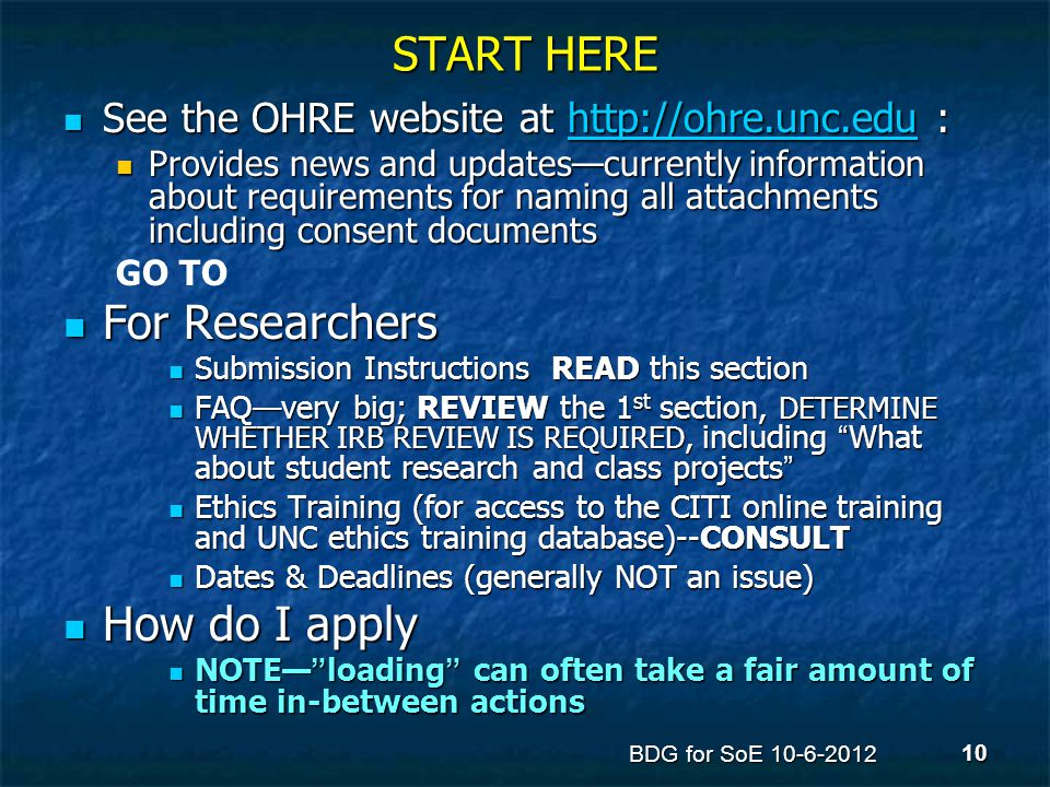 START HERE See the OHRE website at http://ohre.unc.edu : See the OHRE website at http://ohre.unc.edu :http://ohre.unc.edu Provides news and updates—cu
