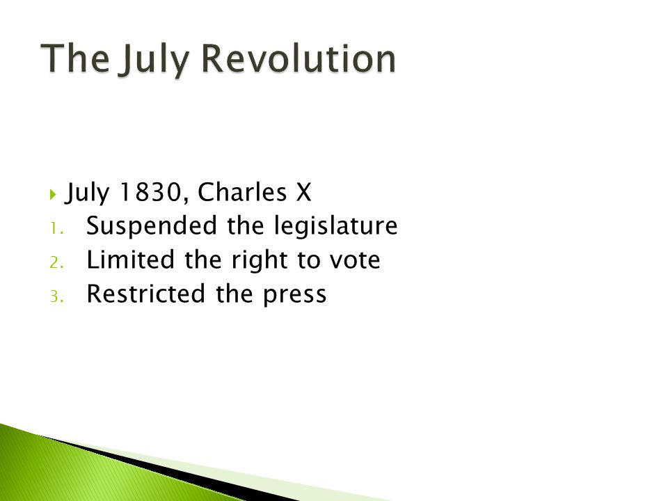  July 1830, Charles X 1. Suspended the legislature 2. Limited the right to vote 3. Restricted the press