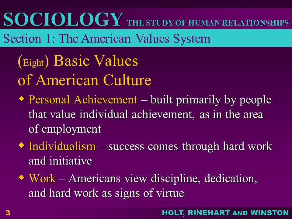 THE STUDY OF HUMAN RELATIONSHIPS SOCIOLOGY HOLT, RINEHART AND WINSTON 4 Basic Values of American Culture  Morality and Humanitarianism – Americans place a high value on morality and tend to view the world in terms of right and wrong; quick to help the unfortunate  Efficiency and Practicality – practical and inventive, every problem has a solution; judge objects on their usefulness and people on their ability to get things done Section 1: The American Values System (continued)