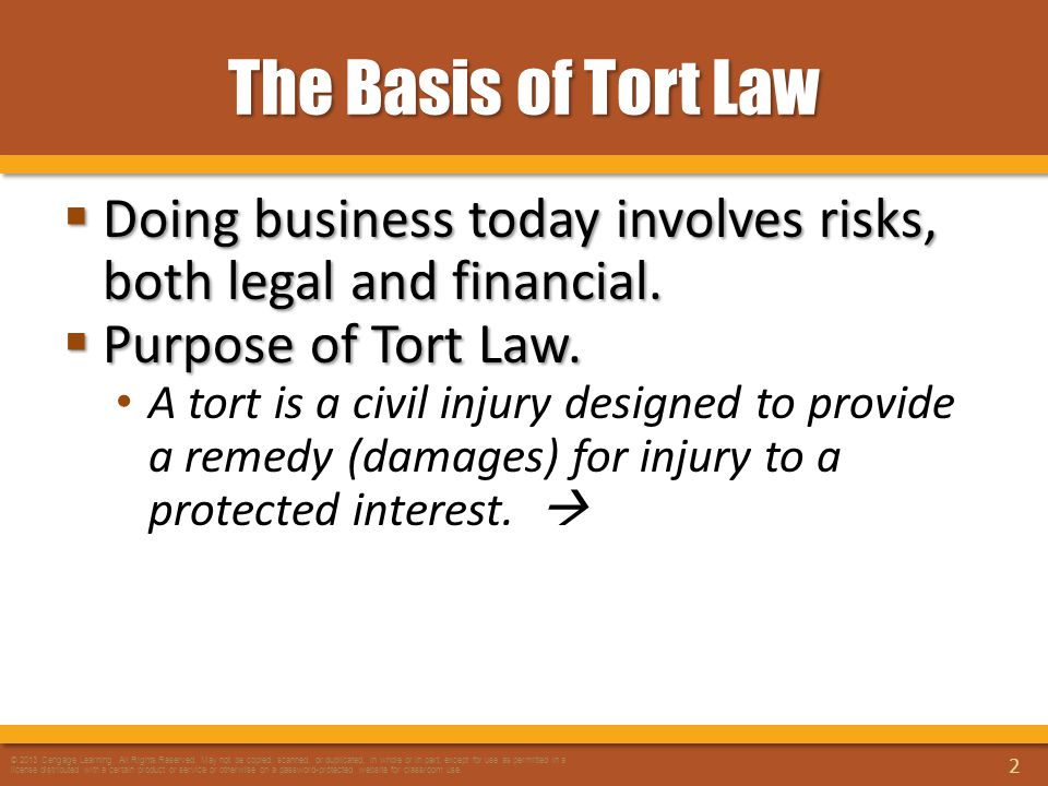 The Basis of Tort Law  Doing business today involves risks, both legal and financial.