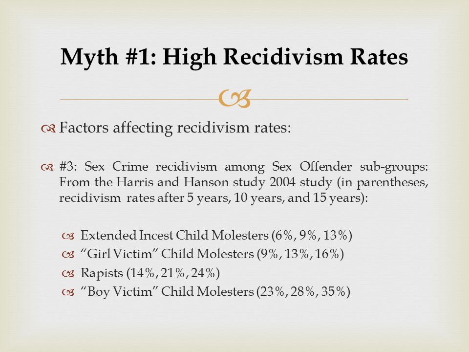   Factors affecting recidivism rates:  #3: Sex Crime recidivism among Sex Offender sub-groups: From the Harris and Hanson study 2004 study (in pare