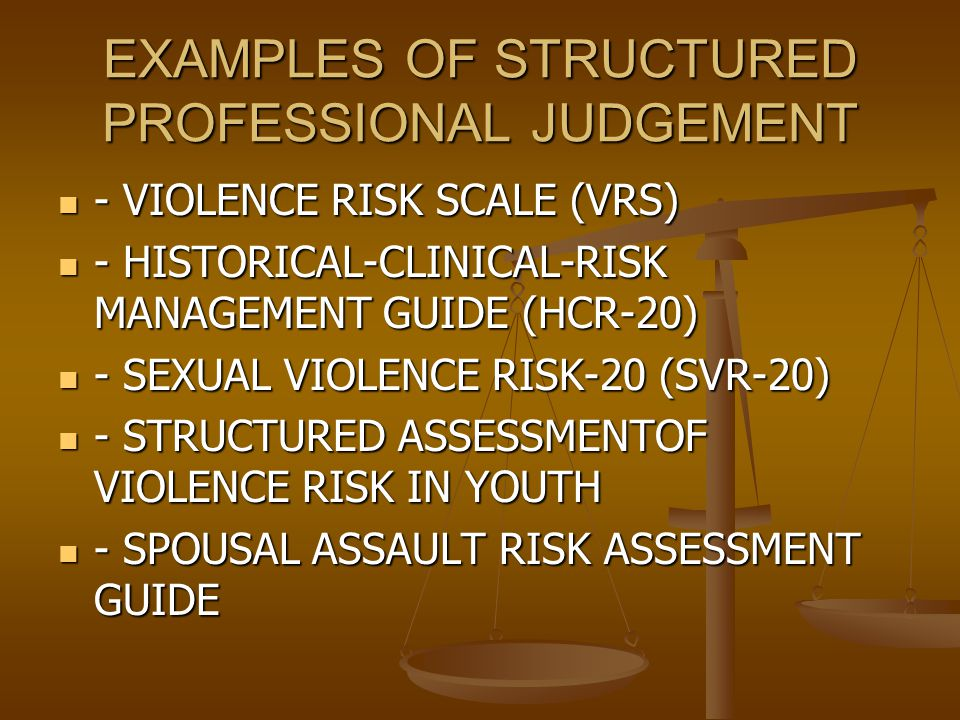EXAMPLES OF STRUCTURED PROFESSIONAL JUDGEMENT - VIOLENCE RISK SCALE (VRS) - VIOLENCE RISK SCALE (VRS) - HISTORICAL-CLINICAL-RISK MANAGEMENT GUIDE (HCR-20) - HISTORICAL-CLINICAL-RISK MANAGEMENT GUIDE (HCR-20) - SEXUAL VIOLENCE RISK-20 (SVR-20) - SEXUAL VIOLENCE RISK-20 (SVR-20) - STRUCTURED ASSESSMENTOF VIOLENCE RISK IN YOUTH - STRUCTURED ASSESSMENTOF VIOLENCE RISK IN YOUTH - SPOUSAL ASSAULT RISK ASSESSMENT GUIDE - SPOUSAL ASSAULT RISK ASSESSMENT GUIDE