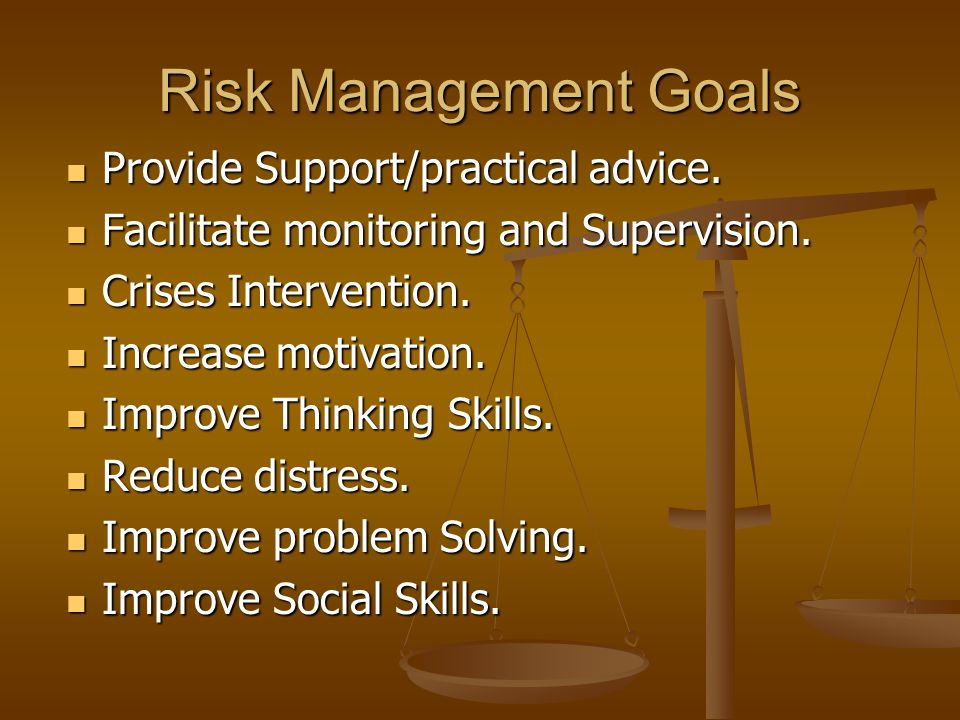 Risk Management Goals Provide Support/practical advice.