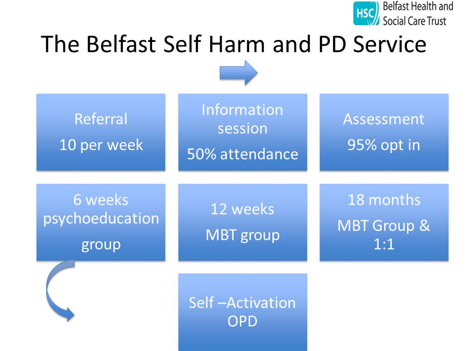 The Belfast Self Harm and PD Service Referral 10 per week Information session 50% attendance Assessment 95% opt in 6 weeks psychoeducatio n group 12 weeks MBT group 18 months MBT Group & 1:1 Self –Activation OPD