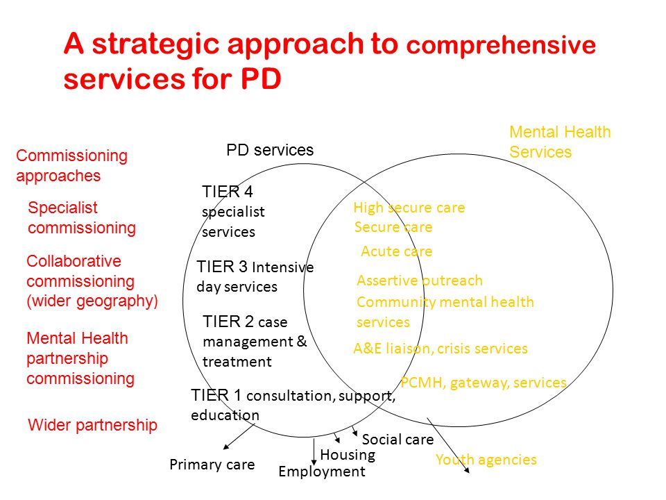 A strategic approach to comprehensive services for PD Commissioning approaches Specialist commissioning Collaborative commissioning (wider geography ) Mental Health partnership commissioning Wider partnership Primary care Employment Housing Social care TIER 1 consultation, support, education PCMH, gateway, services A&E liaison, crisis services Community mental health services Assertive outreach Acute care Secure care High secure care Mental Health Services PD services Youth agencies TIER 4 specialist services TIER 3 Intensive day services TIER 2 case management & treatment