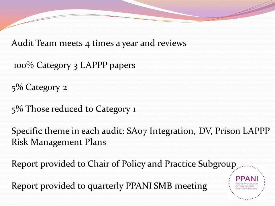 Audit Team meets 4 times a year and reviews 100% Category 3 LAPPP papers 5% Category 2 5% Those reduced to Category 1 Specific theme in each audit: SA07 Integration, DV, Prison LAPPP Risk Management Plans Report provided to Chair of Policy and Practice Subgroup Report provided to quarterly PPANI SMB meeting