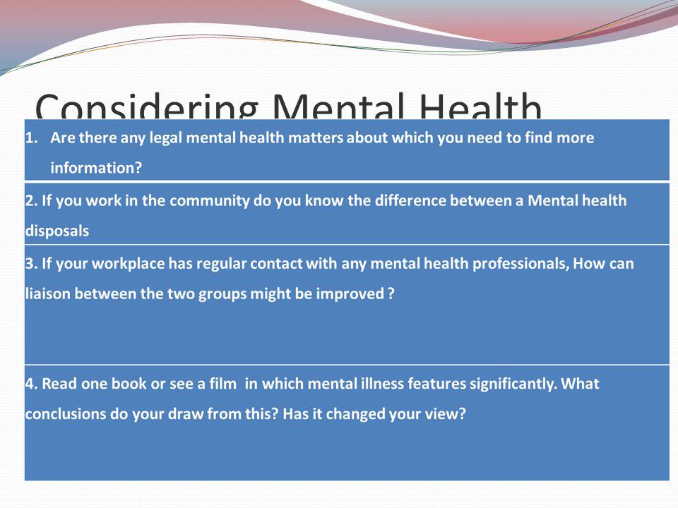 Considering Mental Health