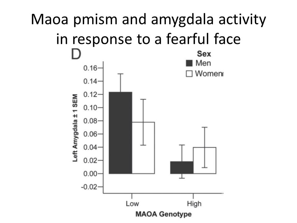 Maoa pmism and amygdala activity in response to a fearful face
