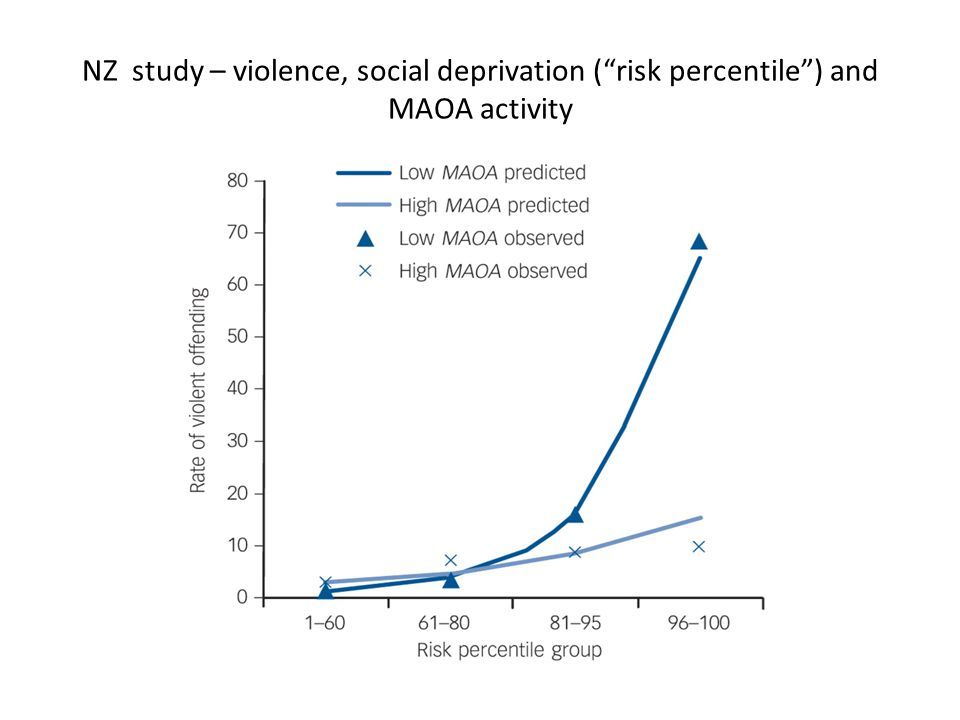 NZ study – violence, social deprivation ( risk percentile ) and MAOA activity