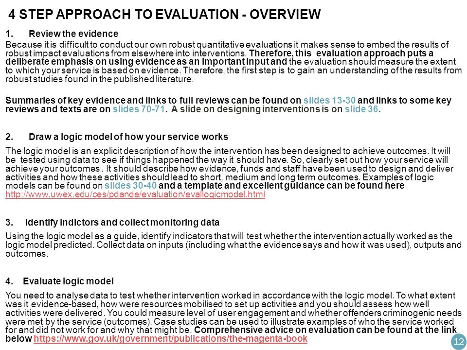 4 STEP APPROACH TO EVALUATION - OVERVIEW 1.Review the evidence Because it is difficult to conduct our own robust quantitative evaluations it makes sense to embed the results of robust impact evaluations from elsewhere into interventions.