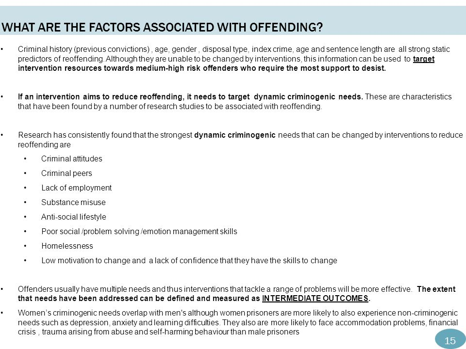 WHAT ARE THE FACTORS ASSOCIATED WITH OFFENDING.