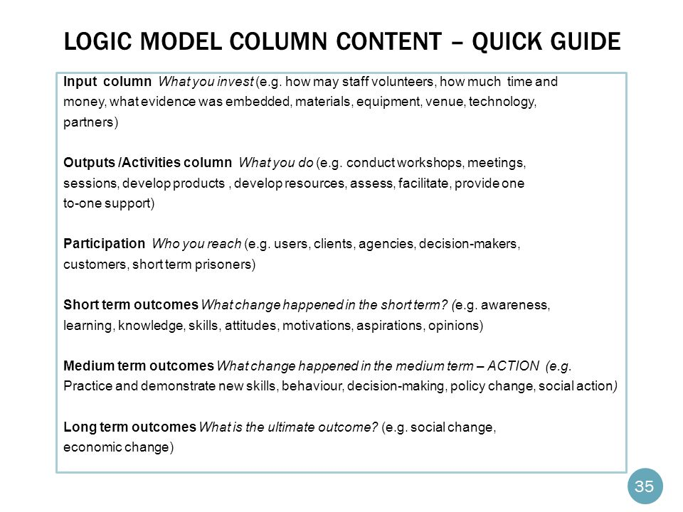 LOGIC MODEL COLUMN CONTENT – QUICK GUIDE Input column What you invest (e.g.