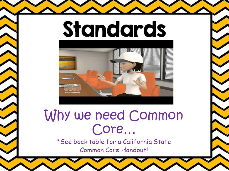 Why we need Common Core… *See back table for a California State Common Core Handout!