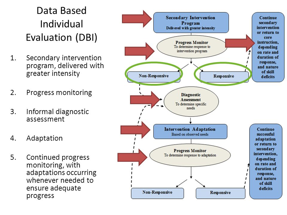 Data Based Individual Evaluation (DBI) 1.Secondary intervention program, delivered with greater intensity 2.Progress monitoring 3.Informal diagnostic