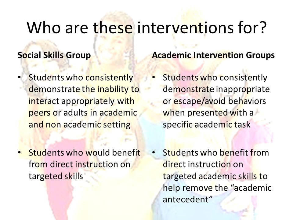 Who are these interventions for? Social Skills Group Students who consistently demonstrate the inability to interact appropriately with peers or adult