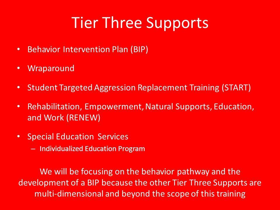 Tier Three Supports Behavior Intervention Plan (BIP) Wraparound Student Targeted Aggression Replacement Training (START) Rehabilitation, Empowerment,
