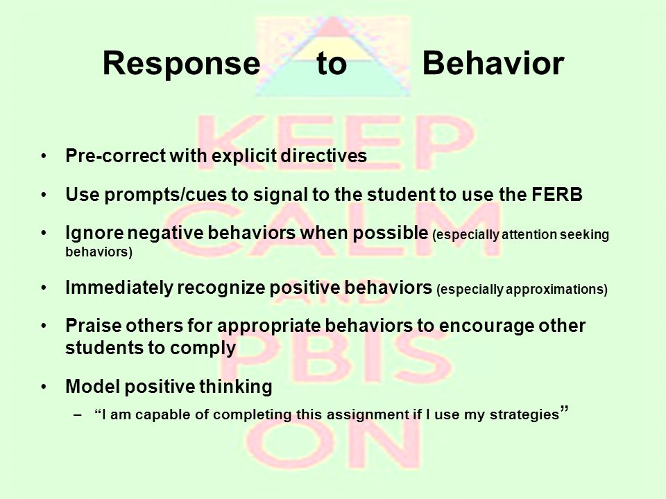 Response to Behavior Pre-correct with explicit directives Use prompts/cues to signal to the student to use the FERB Ignore negative behaviors when pos