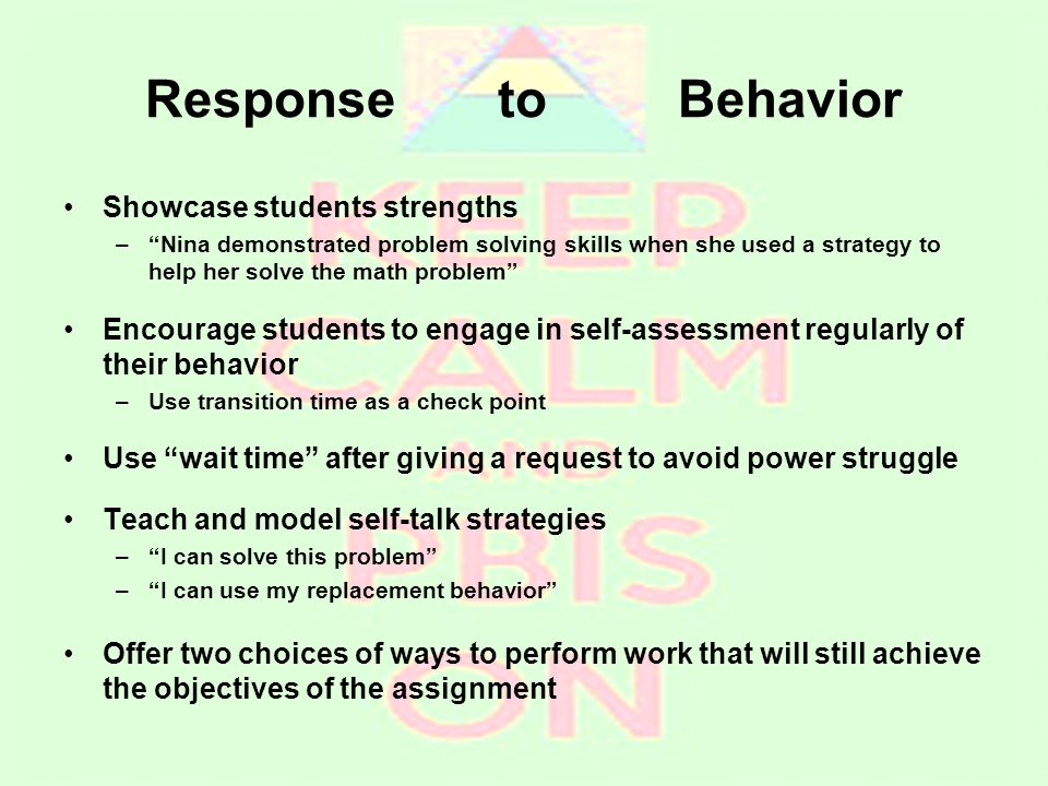 """Response to Behavior Showcase students strengths –""""Nina demonstrated problem solving skills when she used a strategy to help her solve the math proble"""