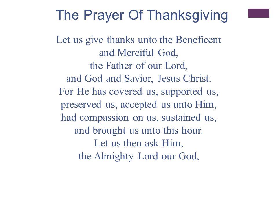 The Prayer Of Thanksgiving