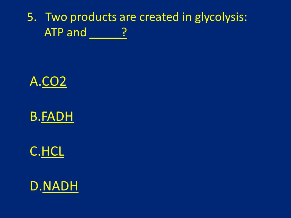 5. Two products are created in glycolysis: ATP and _____ A.CO2CO2 B.FADHFADH C.HCLHCL D.NADHNADH
