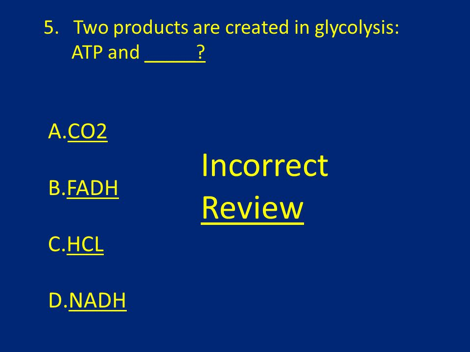 5. Two products are created in glycolysis: ATP and _____.