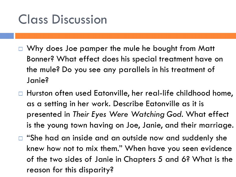 Class Discussion  Why does Joe pamper the mule he bought from Matt Bonner? What effect does his special treatment have on the mule? Do you see any pa