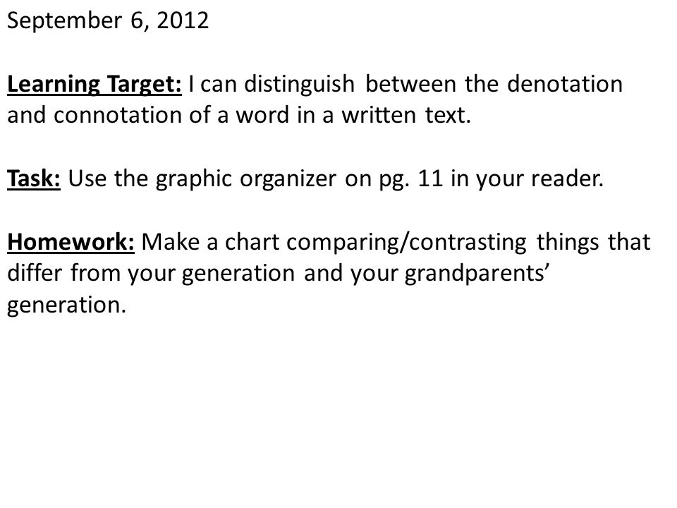 January 4, 2013 Learning Target: Entry Task: