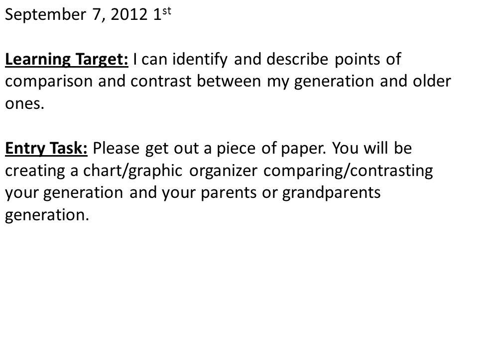 April 12, 2013 Learning Target: Entry Task: