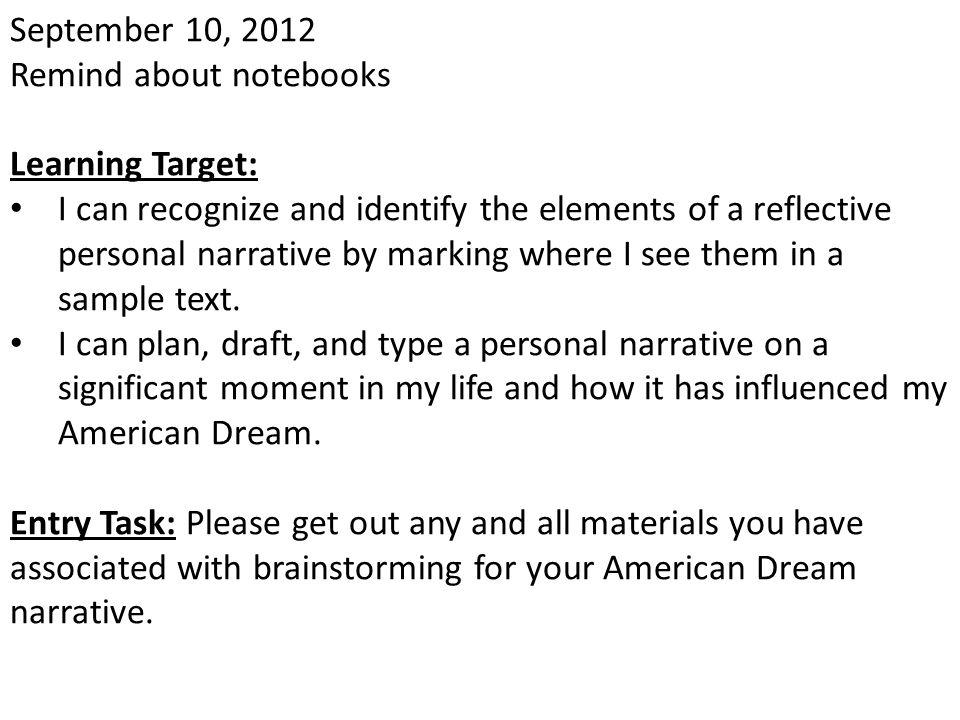 November 2, 2012 Learning Target: Entry Task: