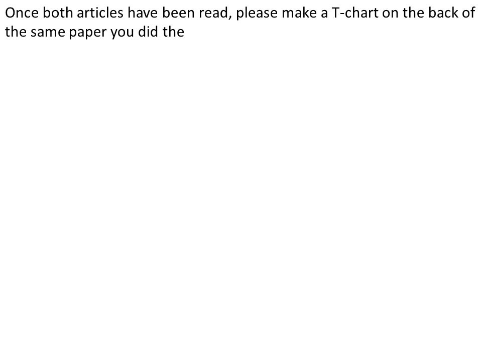 Once both articles have been read, please make a T-chart on the back of the same paper you did the