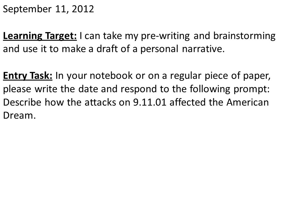 April 17, 2013 Learning Target: Entry Task: